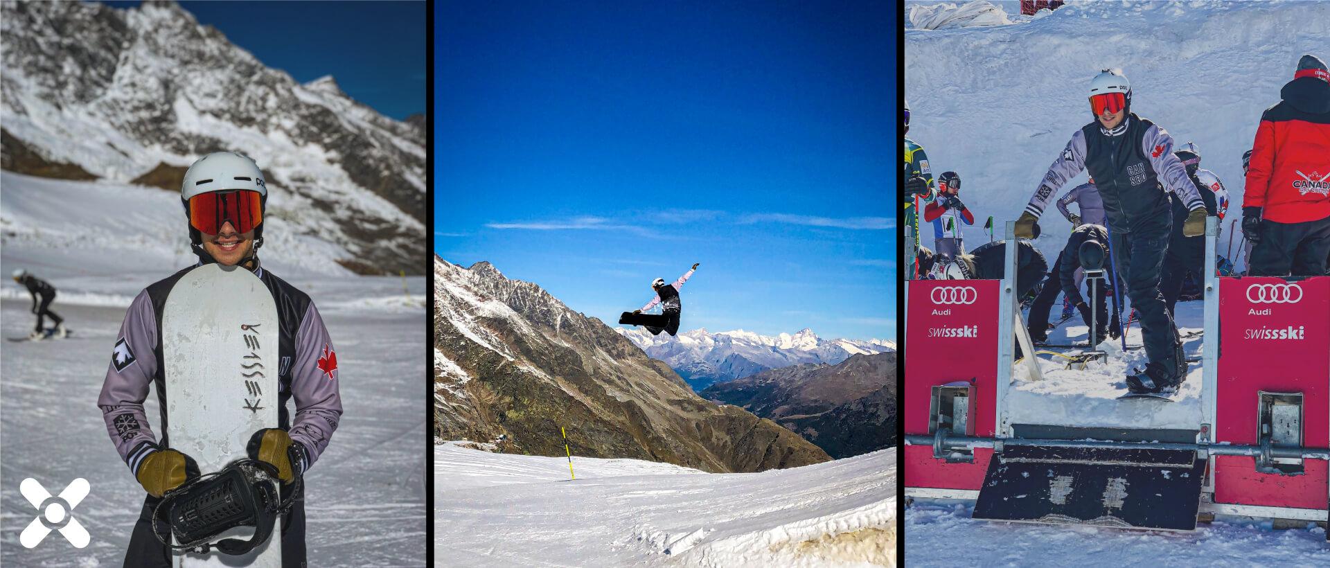 Eliot Grondin sur snowboard, 3 images