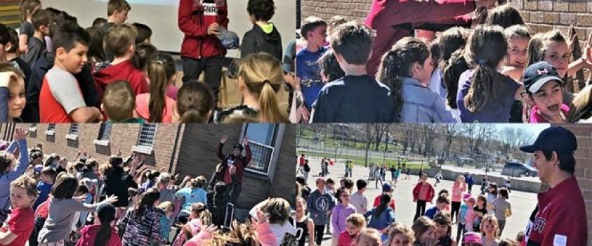 Éliot Grondin fait un Cube énergie avec les élèves de l'école Maribel de Ste-Marie
