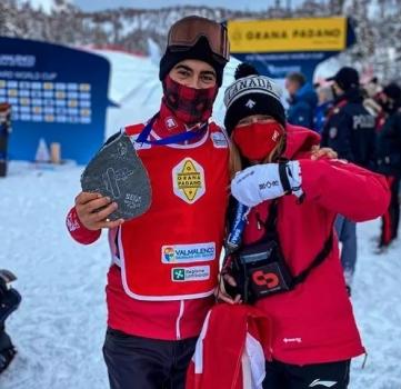 Le Québécois Éliot Grondin décroche l'argent en snowboard cross en Italie
